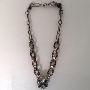 Statement Tortoise Links/Jeweled Pendant Necklace